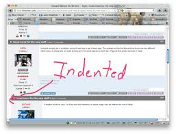 indented